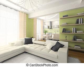 interieur, vertolking, flat, moderne, 3d