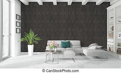 interieur, vertolking, helder, moderne, 3d