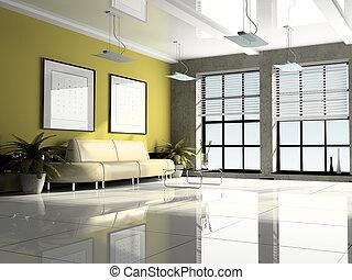 interieur, vertolking, kantoor, 3d