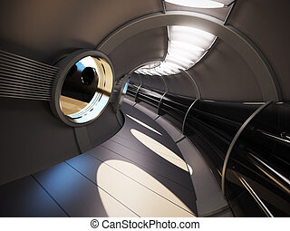 interieur, vertolking, moderne, futuristisch, 3d