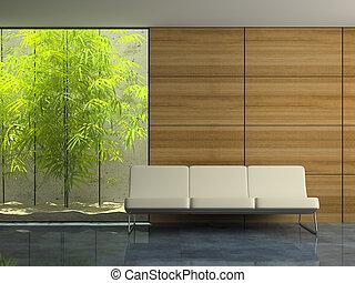 interieur, wachten, moderne kamer, deel