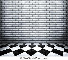 interieur, witte , schaakbord, achtergrond