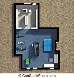interieur, woning, 3d, gemeubileerd