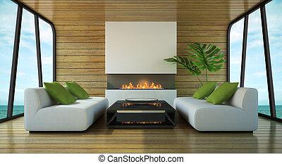 interieur, woning, moderne, strand