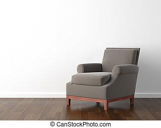 interieurdesign, bruine , leunstoel, op wit