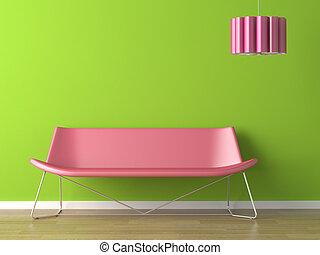 interieurdesign, groene muur, fuxia, bankstel, en, lamp