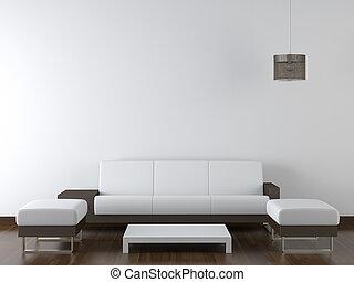 interieurdesign, moderne, witte , meubel, op wit, muur