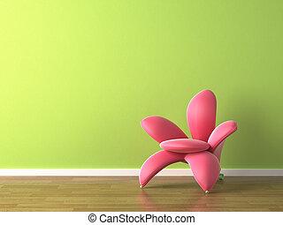 interieurdesign, roze bloem, gevormd, leunstoel, op, groene