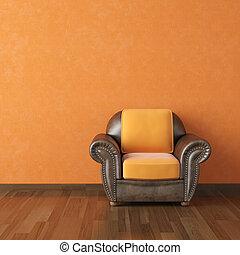 interieurdesign, sinaasappel, muur, en, bruine , bankstel