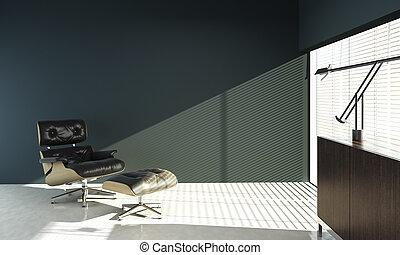 interieurdesign, van, eames, stoel, op, blauwe muur
