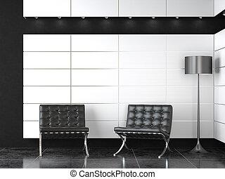 interieurdesign, van, moderne, zwart wit, ontvangst