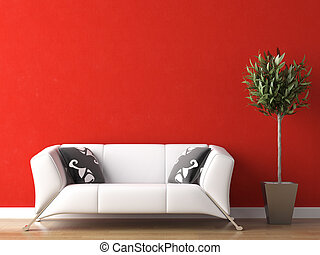 interieurdesign, van, witte , bankstel, op, rode muur