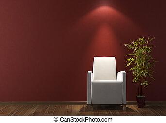 interieurdesign, wite leunstoel, op, bordeaux, muur