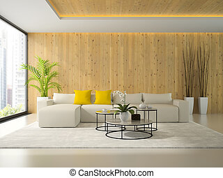 Interiopr of modern room with white sofa 3D rendering