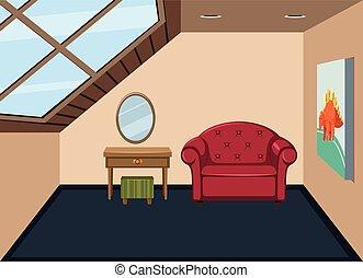 interior, ático, simplemente, habitación