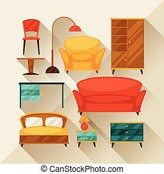 interior, ícone, jogo, com, mobília, em, retro, style.