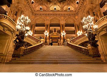interior, ópera, magnífico, parís