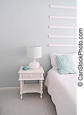 interior:, ライト, 枕元, 寝室, テーブルランプ, 緑