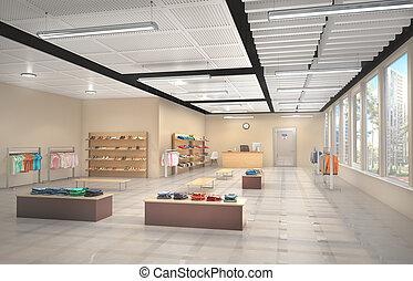 interior., 店, イラスト, 3d
