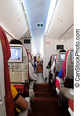 interior., 待つこと, 離れて, 乗客, 飛行機, 取得, india., kolkata