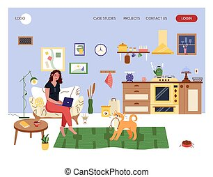 interior., 站點, 网, 長沙發, 設計, 步行, 婦女, illustration., 矢量, wants, 舒適, 在外, 辦公室, 概念, 女孩, 家, 坐, 工作, 當時, 狗, 膝上型, template.