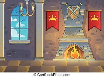 interior, 1, castelo, tema, fundo