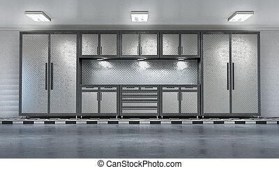 interior., 3d, 現代, イラスト, ガレージ