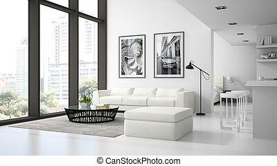 interior, 3d, interpretación, blanco, moderno, apariencia el diseño, desván