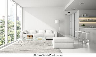 interior, 3d, interpretación, blanco, moderno, diseño, desván