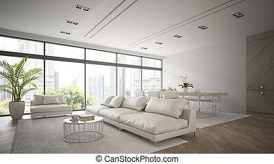 interior, 3d, interpretación, blanco, moderno, sofá, desván