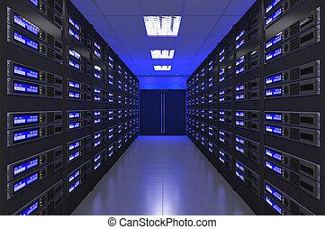 interior, 3d, quarto moderno, servidor