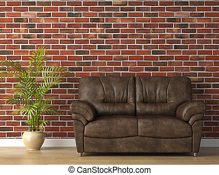 leather couch on brick wall - interior 3d scene of leather ...