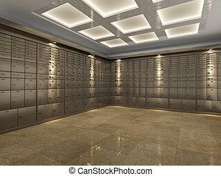 interior, abóbada, banco
