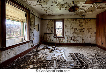 Interior abandoned house prairie Saskatchewan Canada