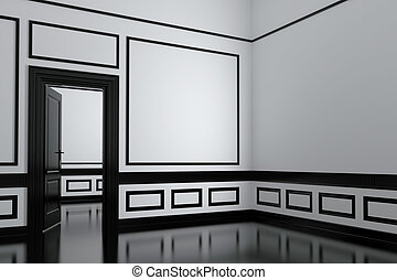 Interior - Abstract interior, executed in black and white. ...