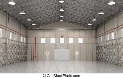 interior, almacenamiento, space., 3d, ilustración