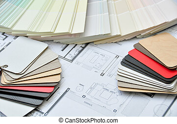 interior and Architectural drawing with colors and material samp