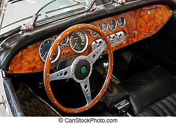 Interior and dashboard on a vintage sports car - Interior...