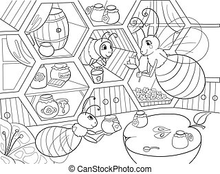 Interior and family life of bees in the house coloring for children cartoon vector illustration. Apiary honey bee house.