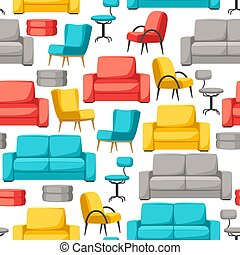 Interior and furniture seamless pattern. Sofa armchair and...