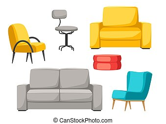 Interior and furniture set. Sofa armchair and pouf.