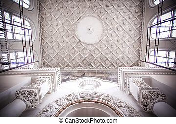 Interior antique roof in Moscow building