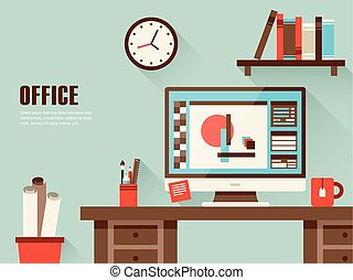 interior, apartamento, desenho, lugar, trabalhando