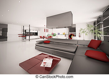 interior, apartamento, moderno, render, 3d
