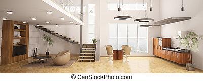interior, apartamento, modernos, render, 3d