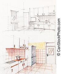 interior, apartamento, perspectiva, cocina, sketched