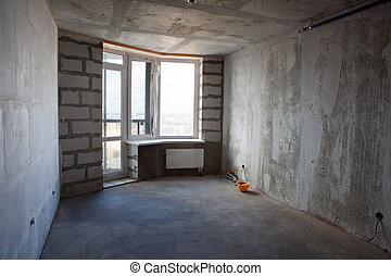 interior, apartamento, sin, inacabado, muebles