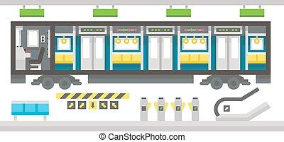 interior, apartamento, trem, desenho, metrô