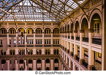 Interior architecture at the Old Post Office, in Washington, DC.