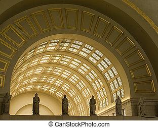 interior, archways, em, estação união, em, c.c. washington